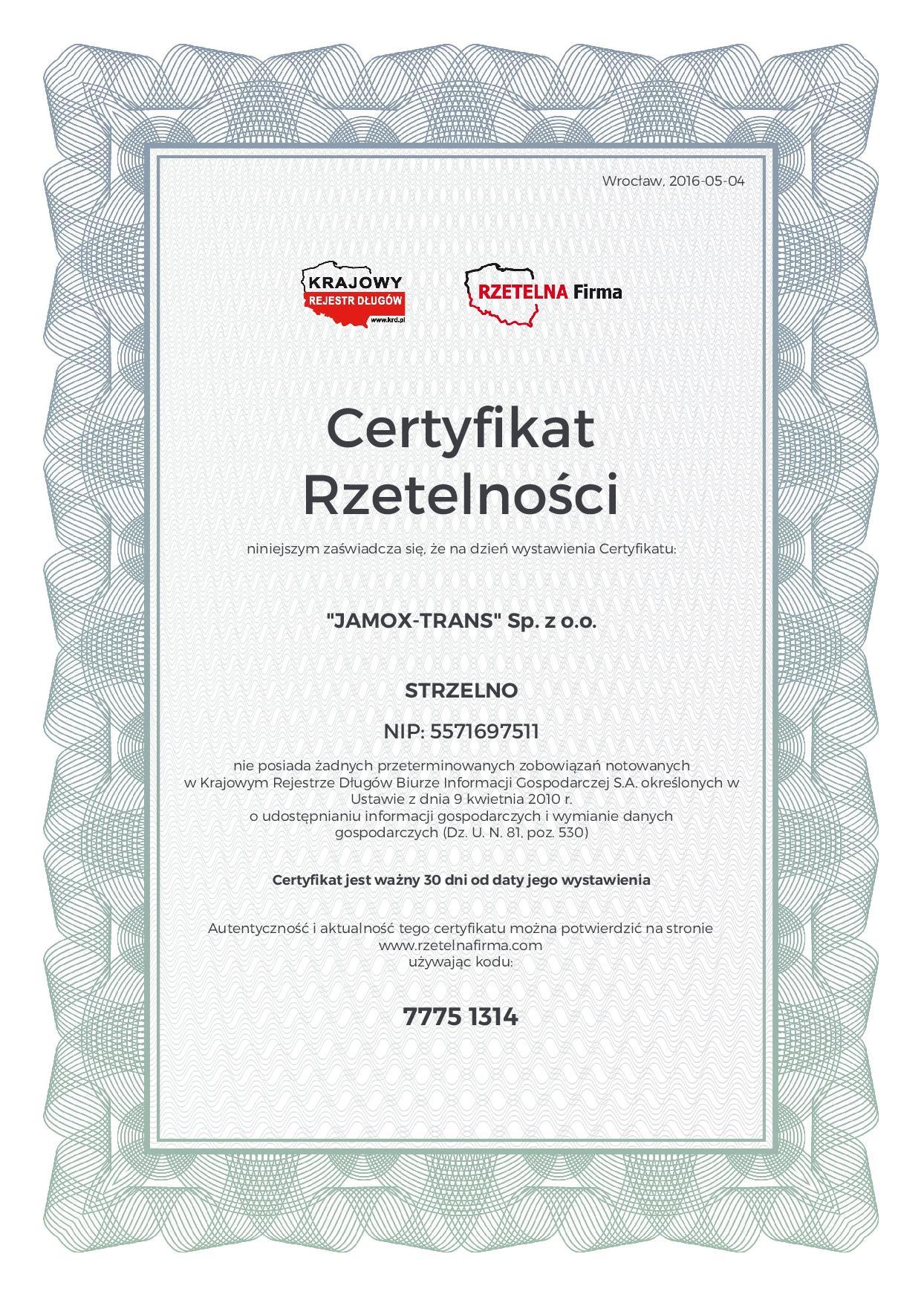 Certyfikat rzetelności Jamoxo