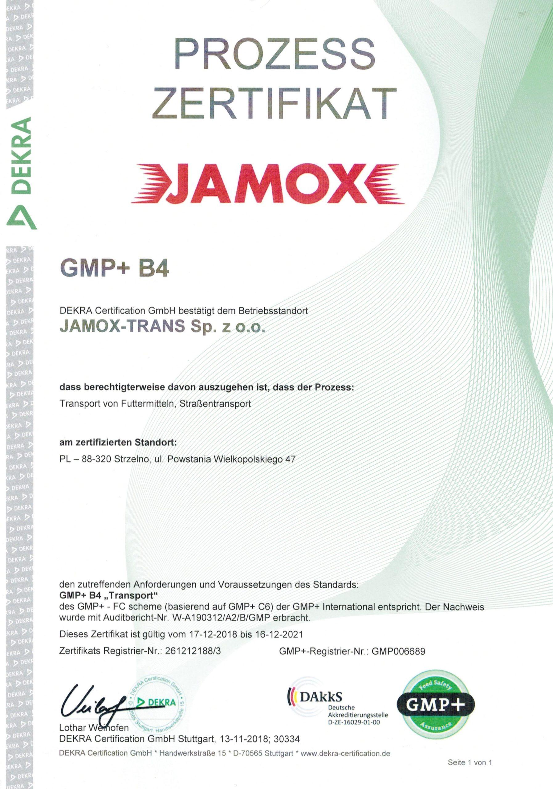 Jamox certyfikat GMP +