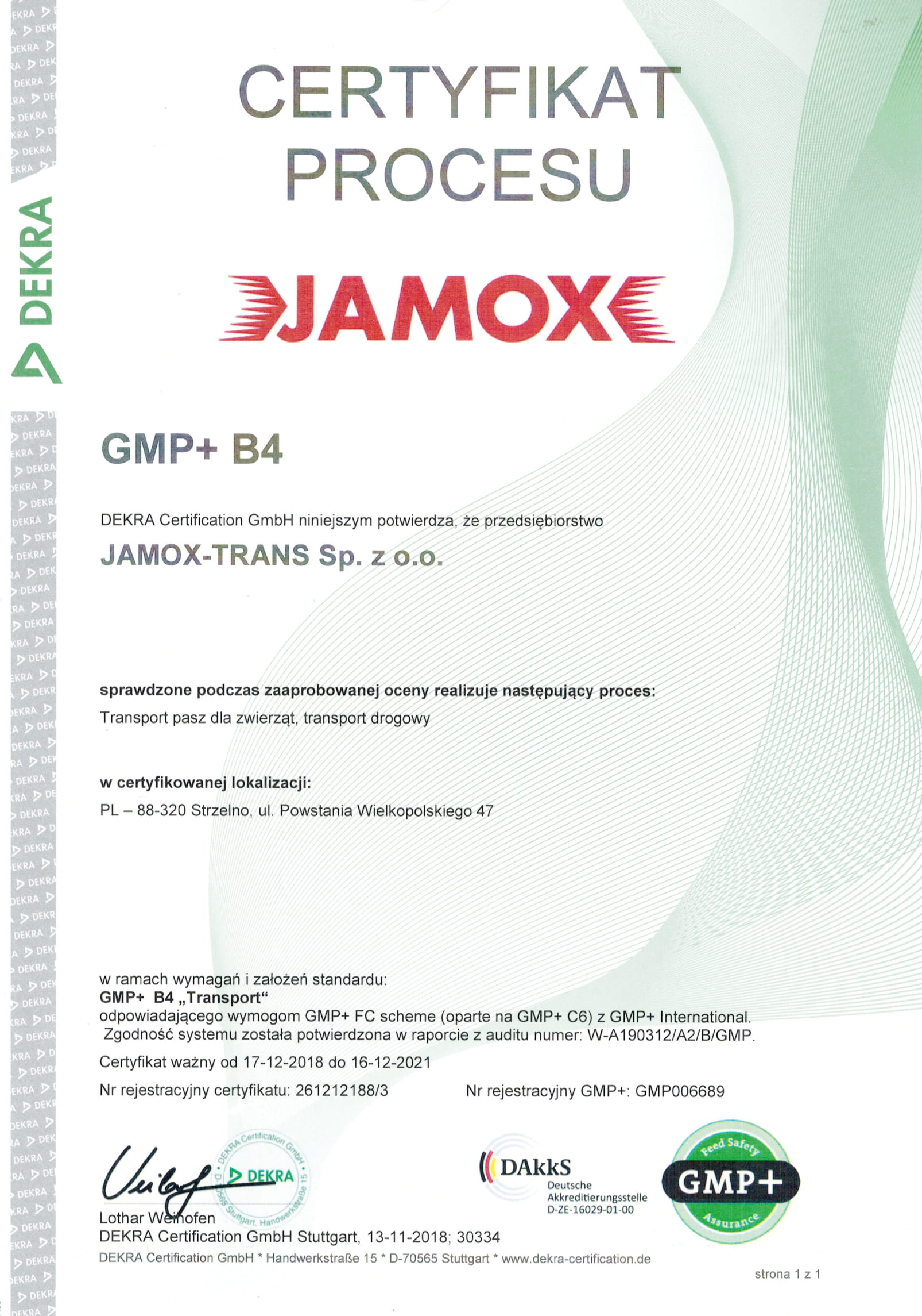 Jamox certyfikat GMP+